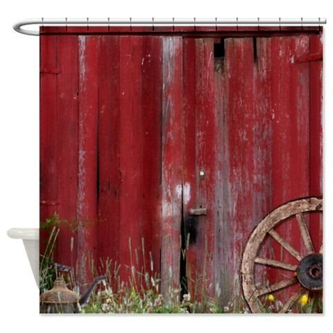 Shower Curtain Rustic Barn Door With Wagon Wheel By FolkandFunky