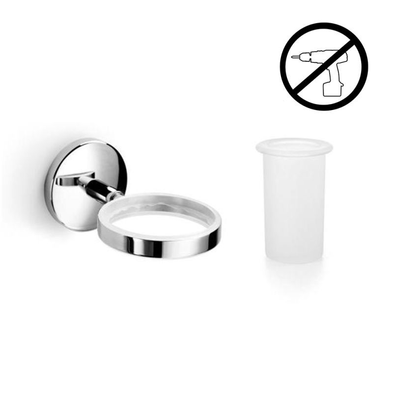 WS Bath Collections Noanta 53271+55003-G Wall Mounted Tumbler from the Noanta Gl Polished Chrome / Frosted Glass Accessory Tumbler