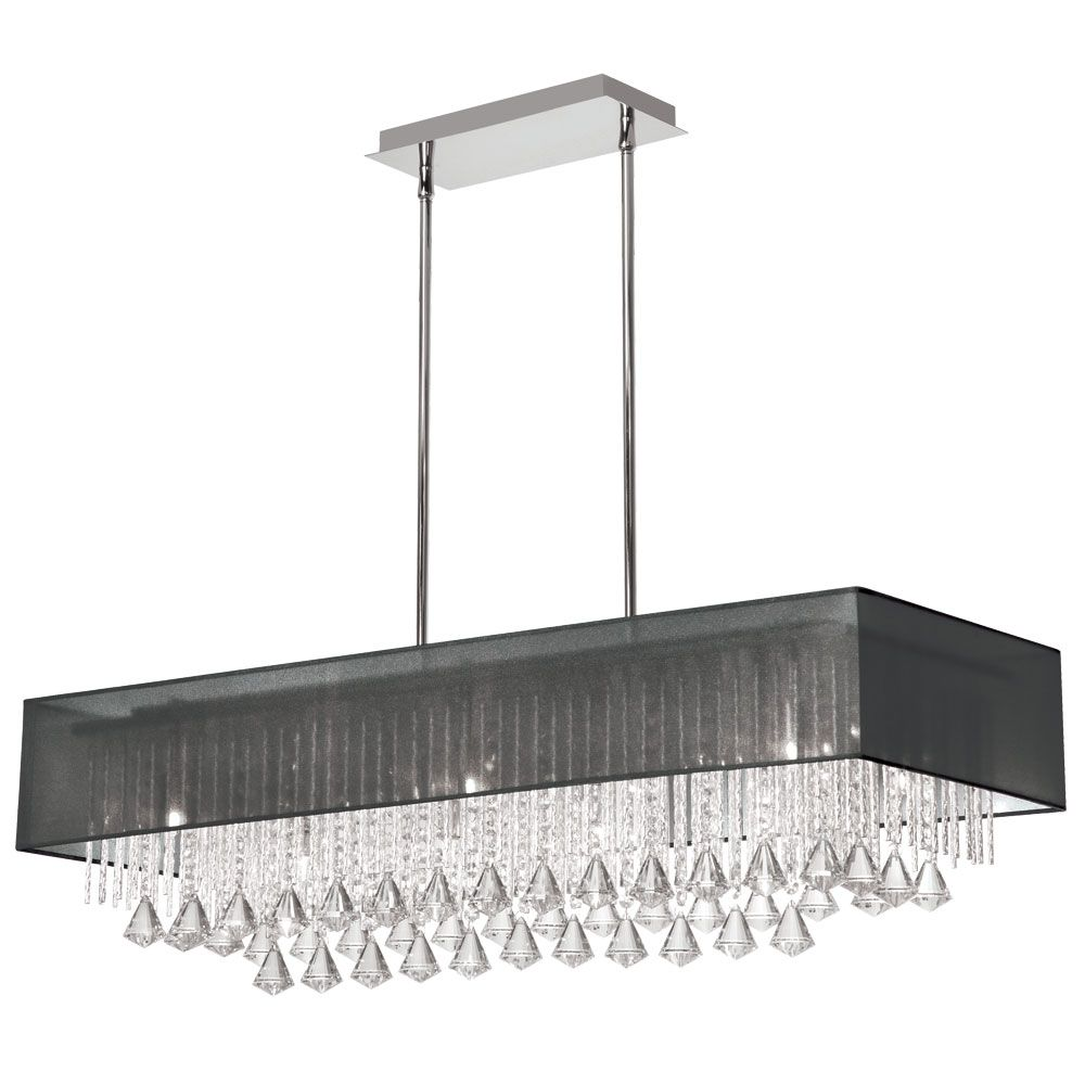10 light horizontal crystal chandelier polished chrome black 10 light horizontal crystal chandelier polished chrome black laminated organza rectangular shade aloadofball Gallery