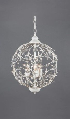Round Rustic Antique White Shabby Chic Chandelier 3 Lights