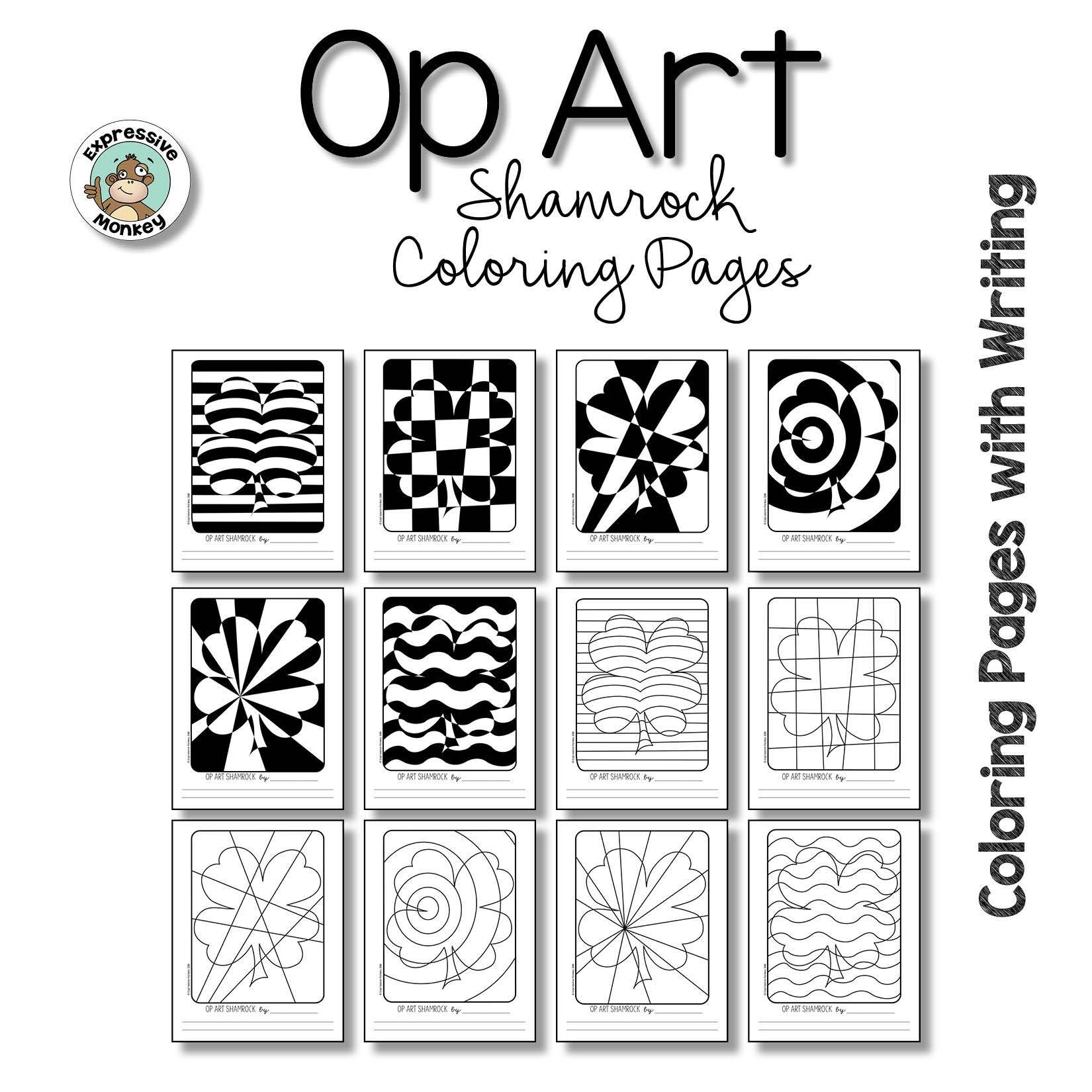 Op Art Shamrock Coloring Pages in 2020 | Op art lessons ...