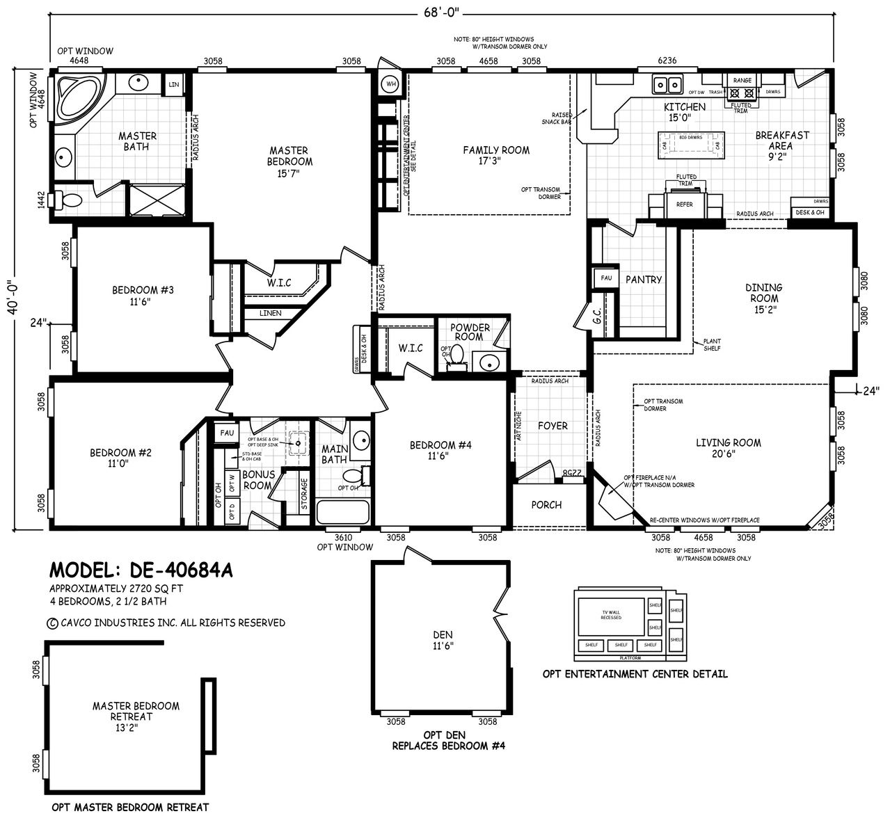 Floor Plan De 40684a Desert Edge Homes By Cavco West Cavco Manufactured Home Floor Pl Manufactured Homes Floor Plans Ranch Home Floor Plans Floor Plans