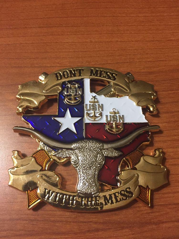 Rare Texas Navy Cpo Challenge Coin Huge Longhorn