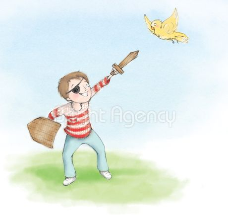 Gillian Flint illustration represented by the Bright Agency. Play pirate.