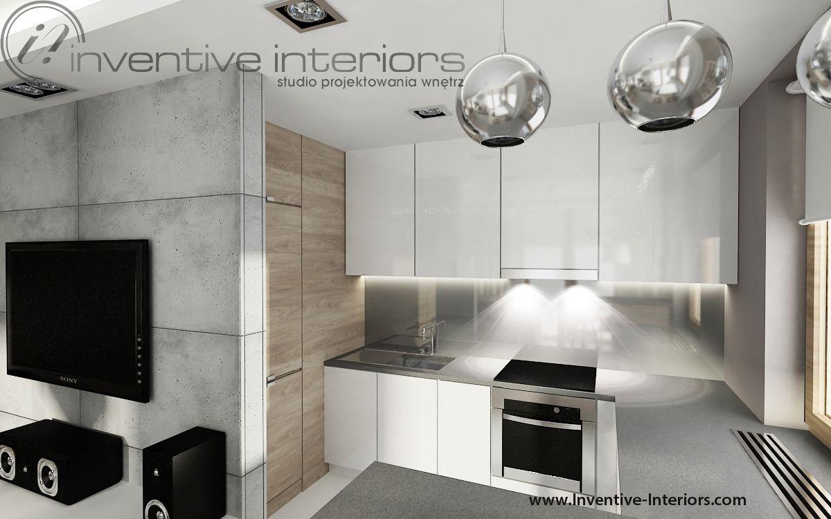 Projekt Mieszkania Inventive Interiors Bialo Szara Kuchnia