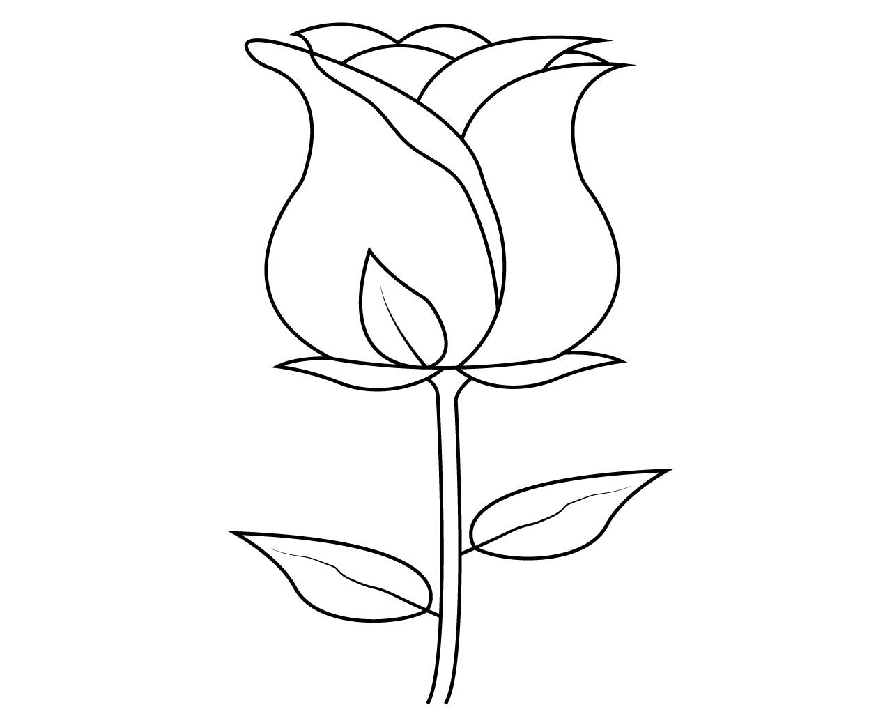 Simple Rose Flower Coloring Pages | Flower coloring pages ...