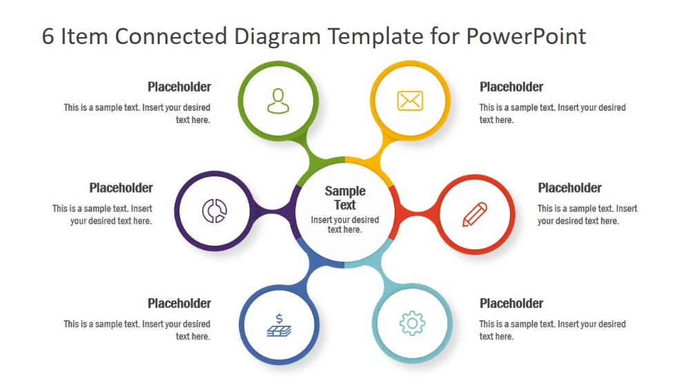 6 Item Connected Diagram Template For Powerpoint Slidemodel Powerpoint Templates Powerpoint Powerpoint Design
