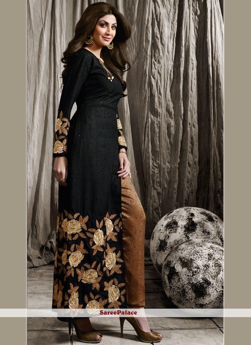 Buy Shilpa Shetty Raw Silk Black Designer Suit Online Designer Suits Designer Dresses Indian Indian Outfits
