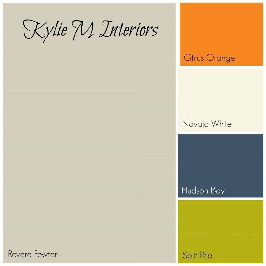 revere pewter gray paint colour palette with orange, cream, navy