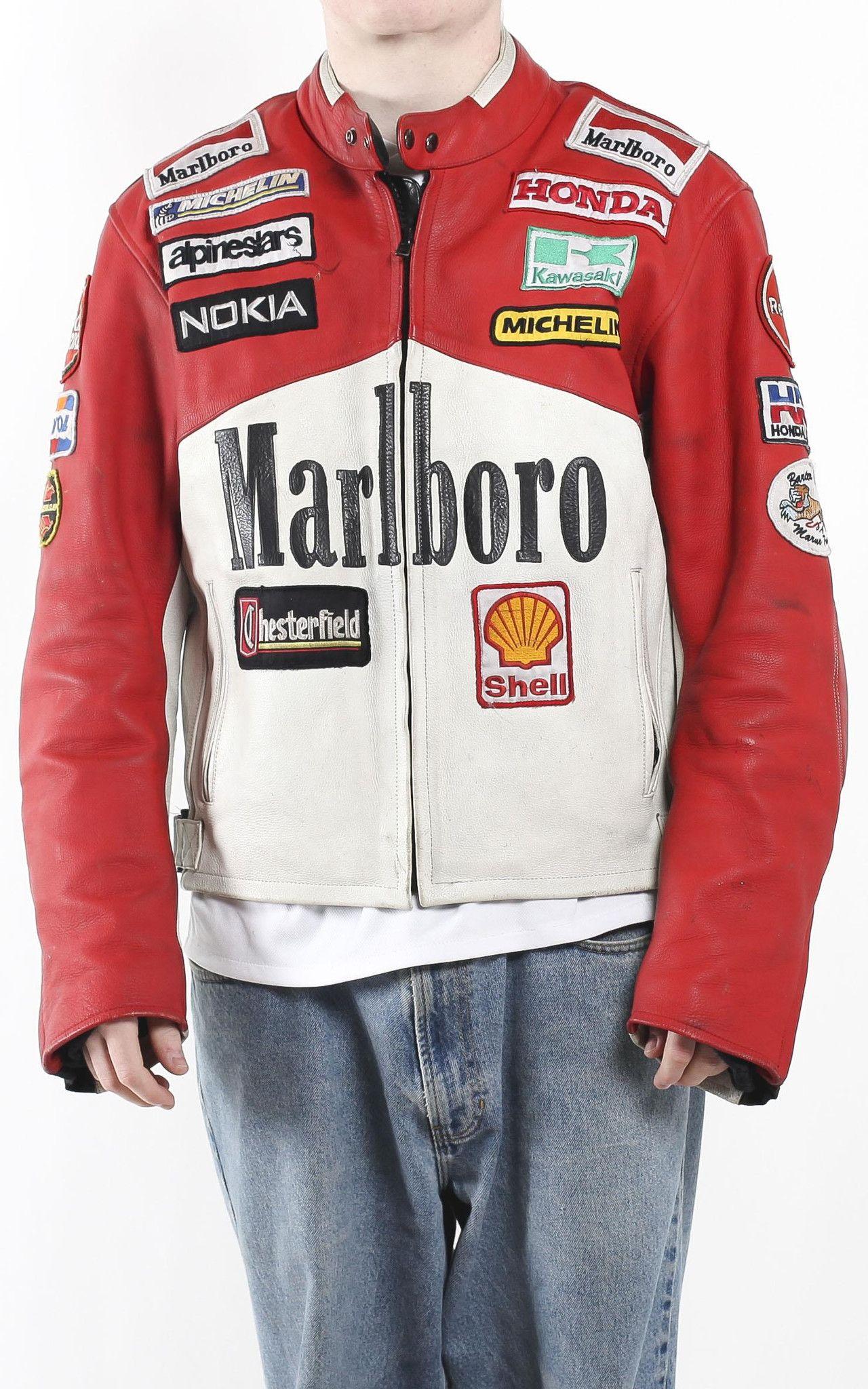 Vintage Marlboro Racing Leather Motorcycle Jacket Sz Xxl