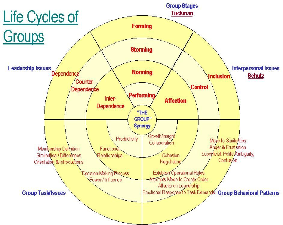 Life Cycles Of Groups Life Cycles Cycle Interpersonal