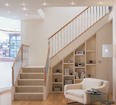 I Really Like The Stairs And How There Is A Bookcase Underneath I