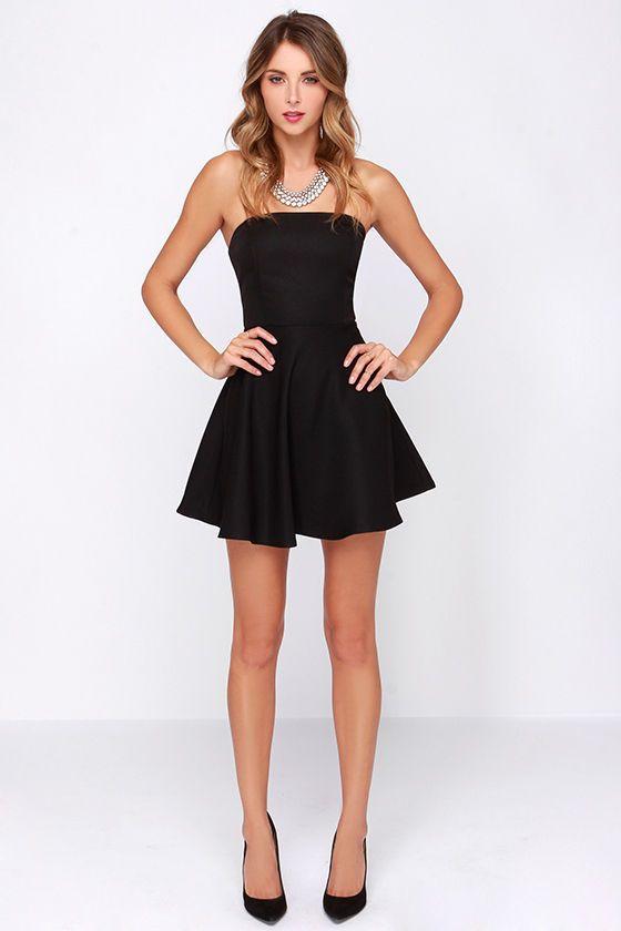 Dancing Darling Black Strapless Dress Outfits Pinterest Black
