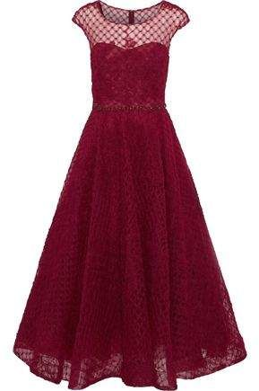 d416fefd8b8a9 Marchesa Notte Flared Appliquéd Embellished Tulle Midi Dress ...