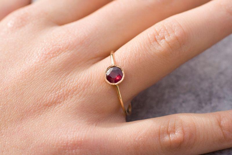 Rubin Verlobungsring 14 K Gold Edelstein Ring Von Arpelc