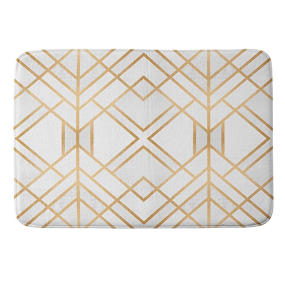 Deny Designs Fredriksson Geo Small Memory Foam Bath Mat In Gold In