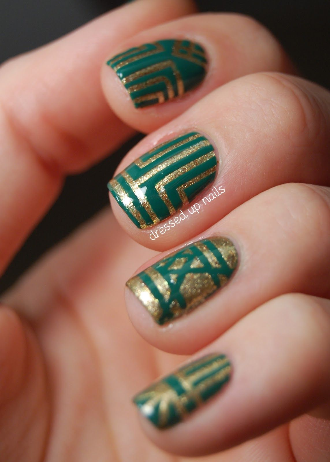 Emerald and gold striping tape art deco style nail art | Natural ...