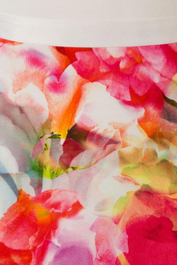 Jurk met kleurige print Wit