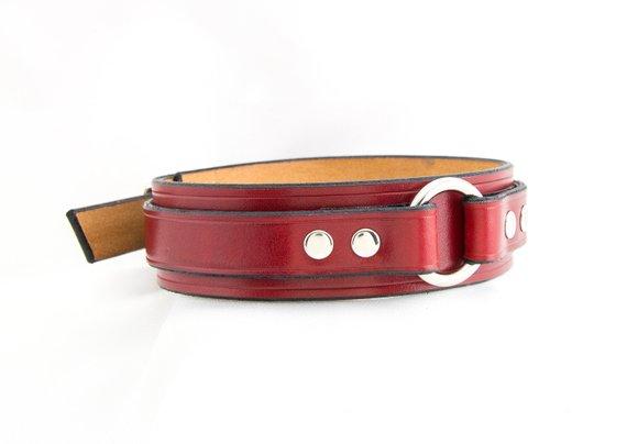 Leather Bondage Collarsubmissive Collarslave Collarbdsm Collarfetish Collareroticclassic O Ring Collarhandmade Red Leathernickel