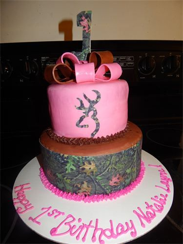 Incredible Browning Camo And Pink 1St Birthday Cake 1St Birthday Cakes Funny Birthday Cards Online Overcheapnameinfo