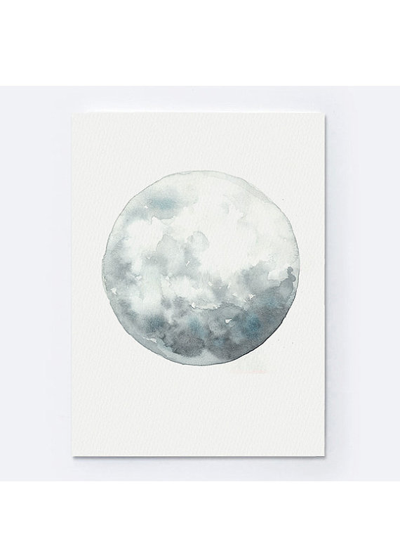 Full Moon Art Luna Aquarelle Peinture Blue Wall Decor Gray Blue