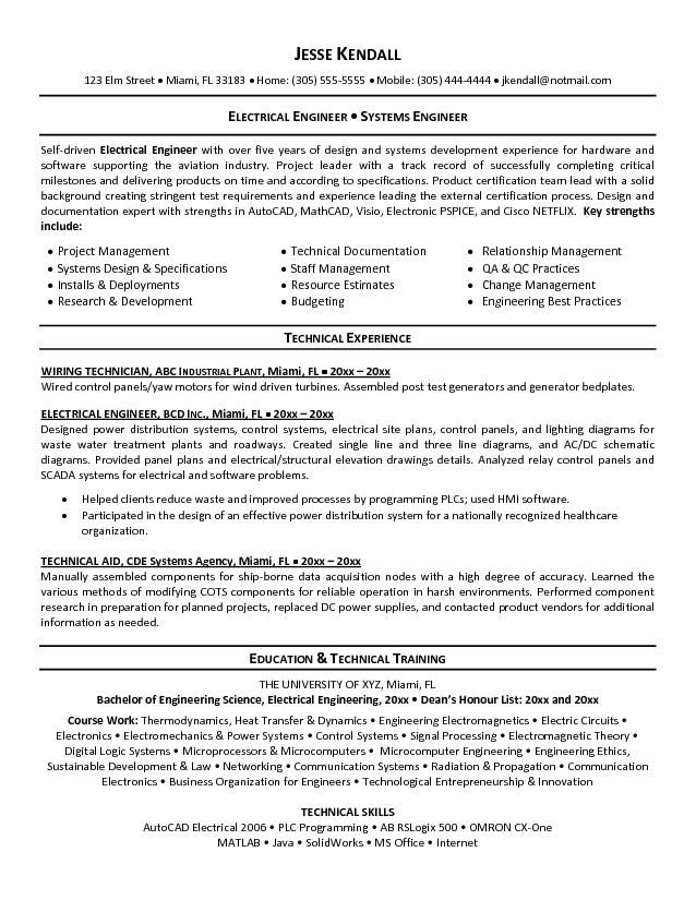 Systems Engineer Resume Examples Electrical Engineer Resume Format  Httptopresumeelectrical .
