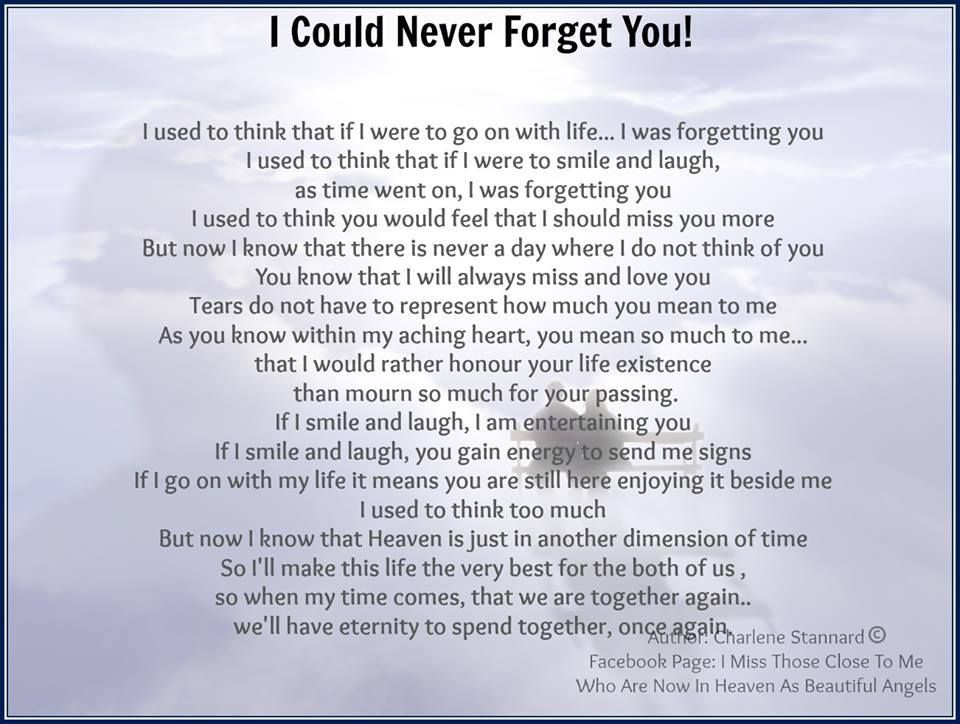 I Could Never Forget You Poems Prayers I Love You Son Miss