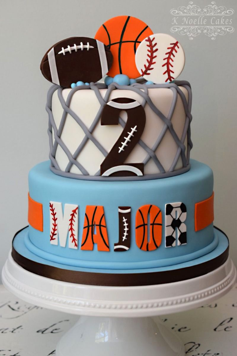 Fine Sports Theme 2Nd Birthday Cake By K Noelle Cakes Sports Birthday Funny Birthday Cards Online Elaedamsfinfo