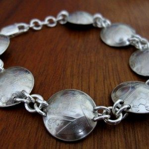 Old coins-bracelet, with Sterling Silver jumprings and clasp