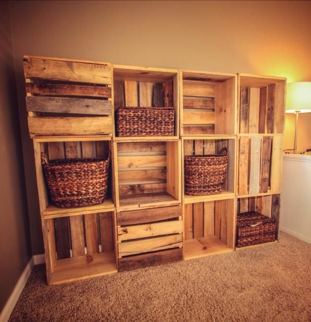 Wood crate wall shelving made from reclaimed wooden for Shelves made out of crates