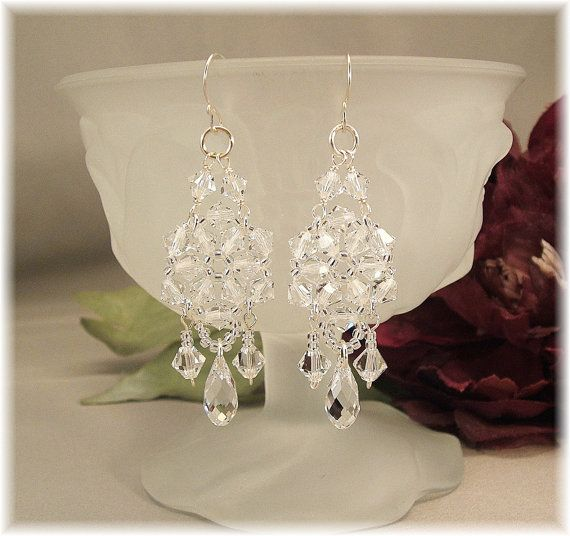 Crystal Chandelier Earrings Bridal Wedding Day Formal Long