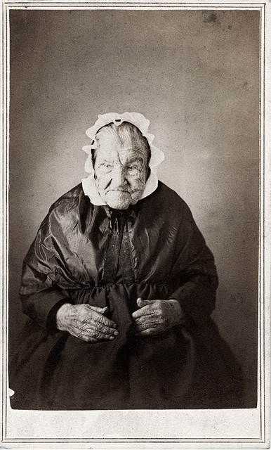 ca. 1860's - not often you see someone this old in photos of this period. Those hands tell a story by themselves.
