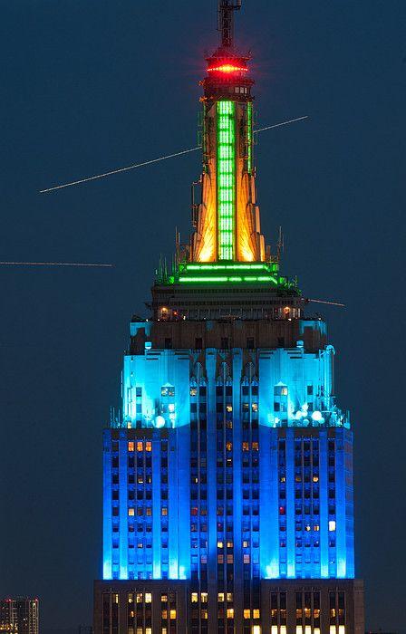 Empire State Building lit up at night, Manhattan, New York City, New York State, USA