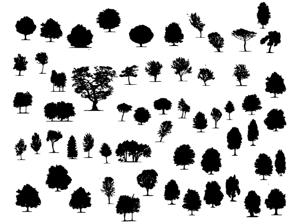 Large Collection of Free Trees and Foliage Vector Shapes