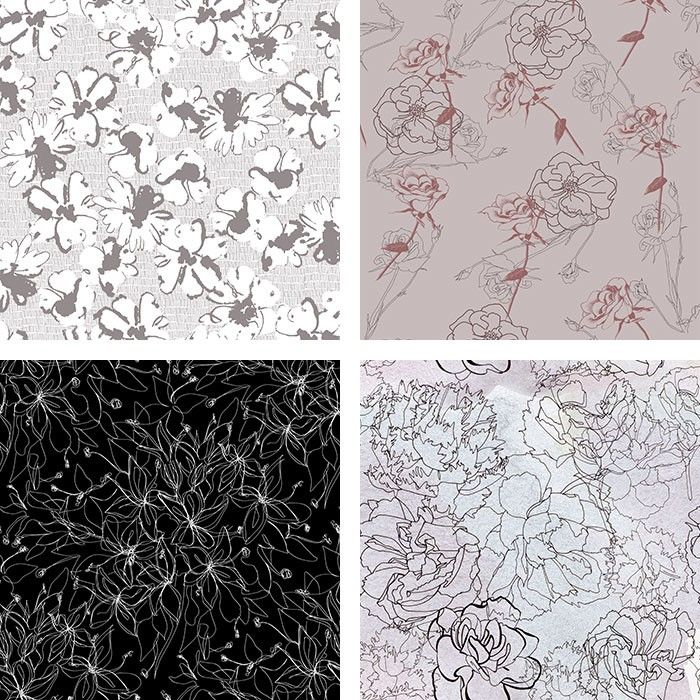Trend Edit: Drawn Style - INK BLUR FLORAL BY AMANDA BATER / LINEAR BOTANICAL FLORAL 2 BY ELEANOR VORSTIUS / WIRE BLOOMS V2 BY LAURA SHEPHERD / HAND DRAWN ASTERS IN SEAMLESS PATTERN BY POLINA MOROZ