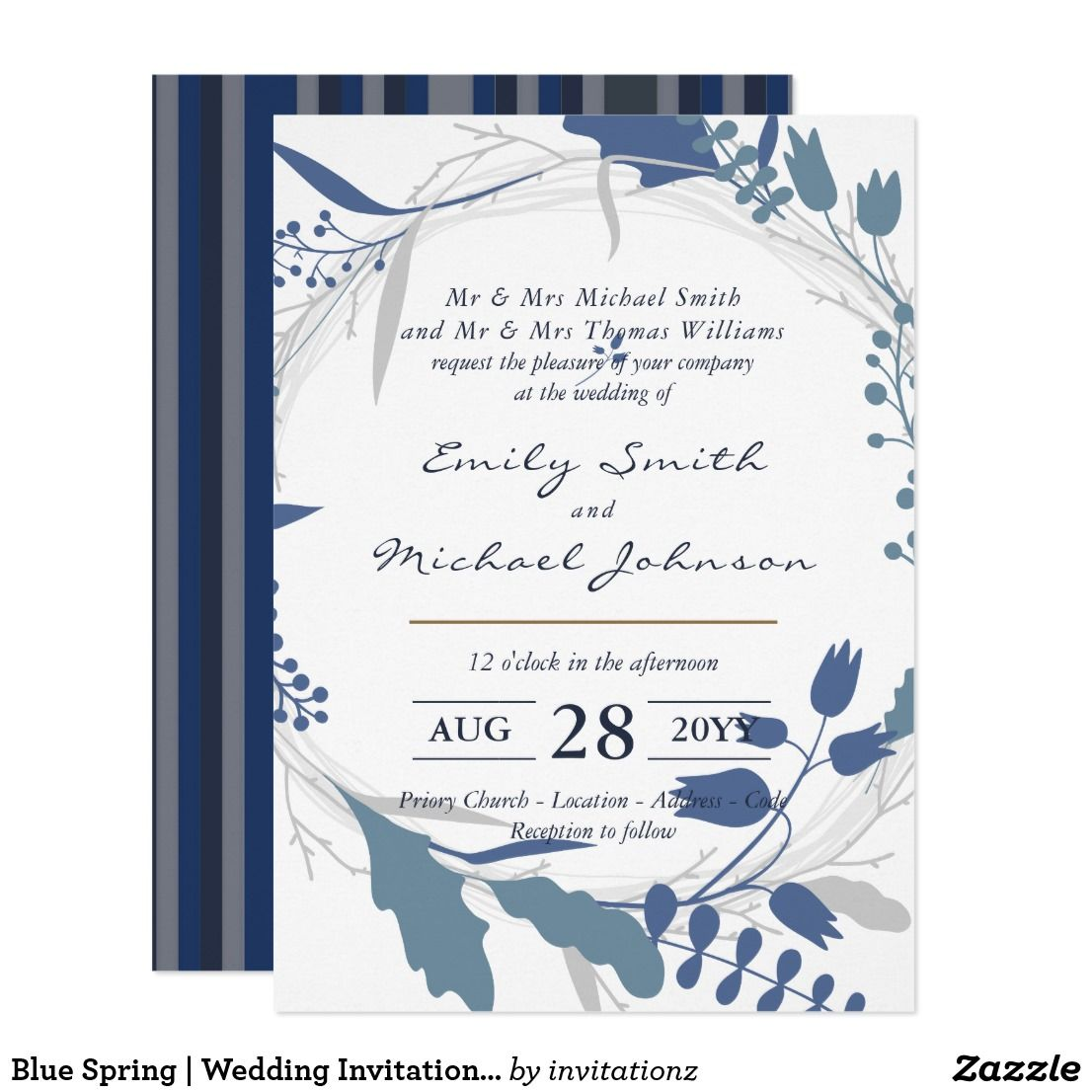 Blue Spring | Wedding Invitation incl Parents Name | Trending ...