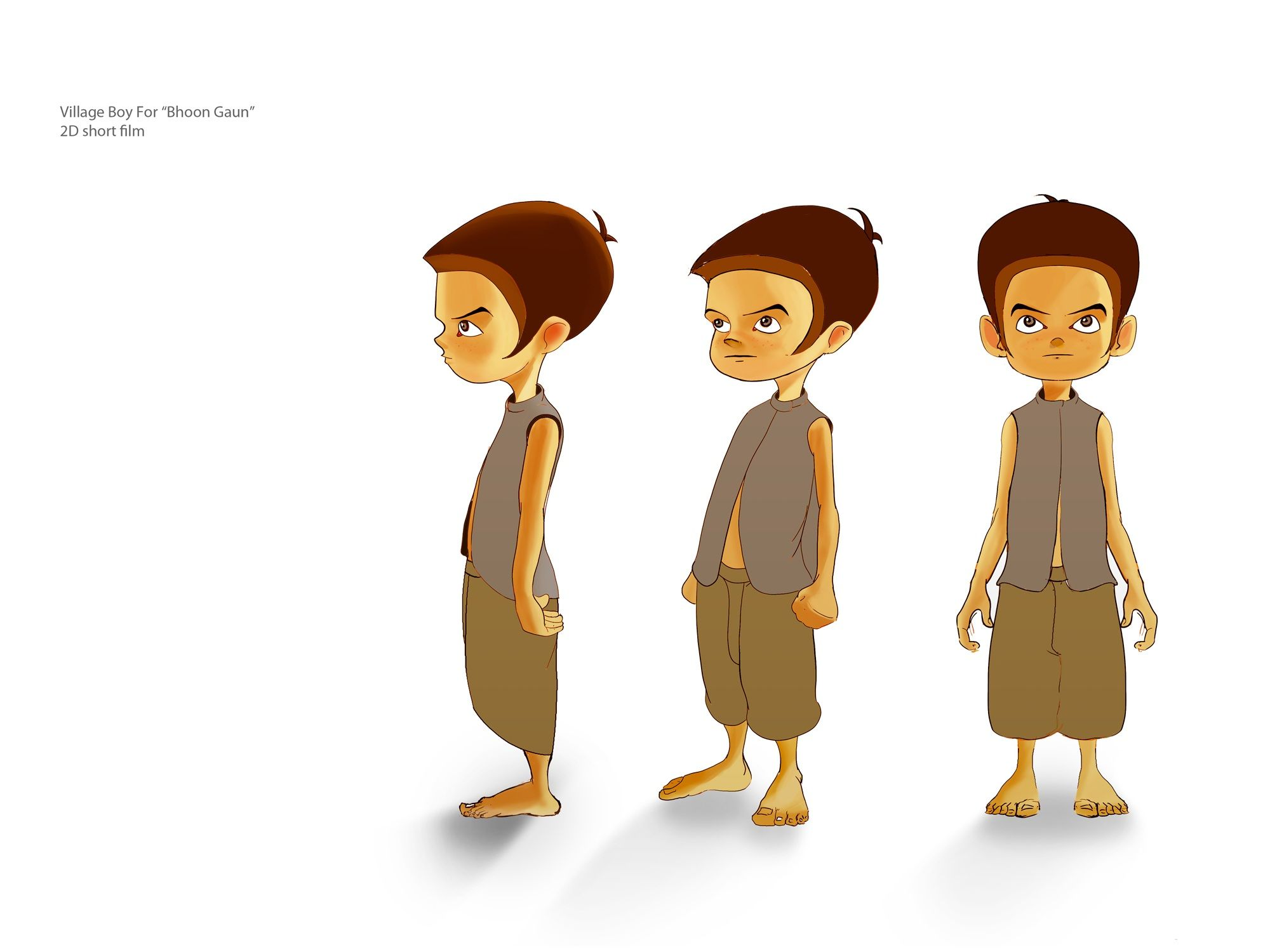Character Conceptual Design : Village kid character for d short film bhoot gaun