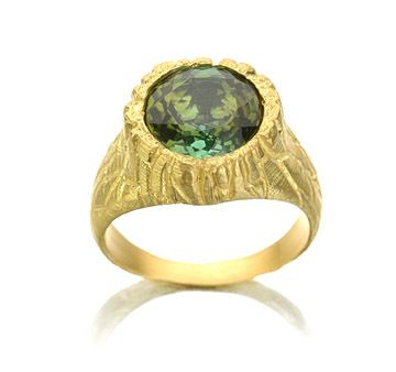 Handmade 18K gold tourmaline log ring, Daphna Simon