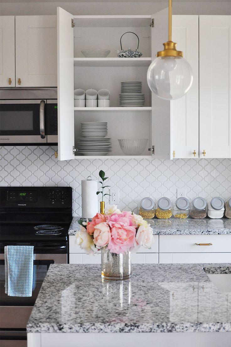 Our Best Renovation Decisions Part I White And Gold Modern Kitchen Arabesque Tile Ba Replacing Kitchen Countertops Kitchen Design Arabesque Tile Backsplash