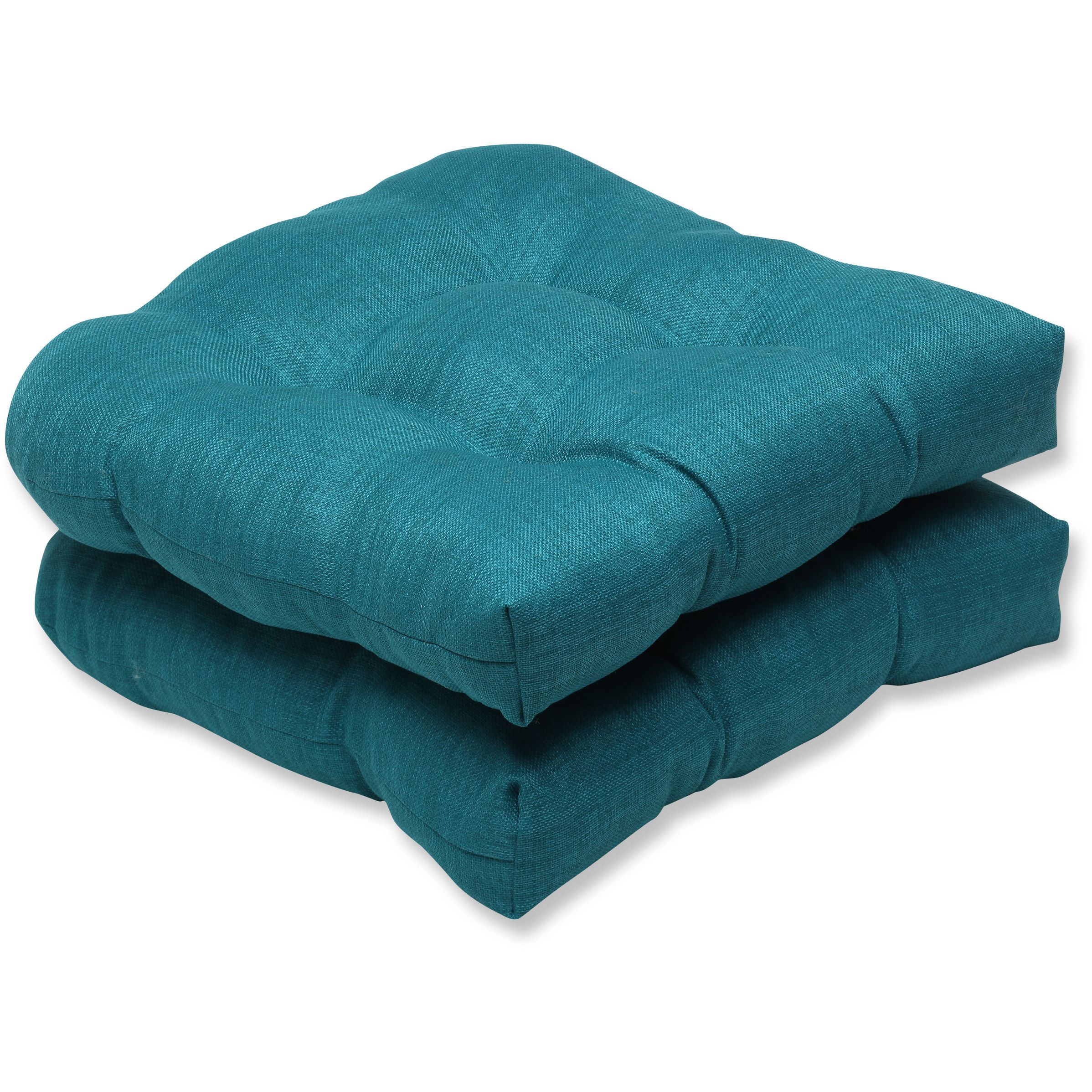 Pillow Perfect Outdoor Teal Wicker Seat Cushion Set Of 2 Outdoor Cushions And Pillows Outdoor Furniture Cushions Outdoor Wicker Seating