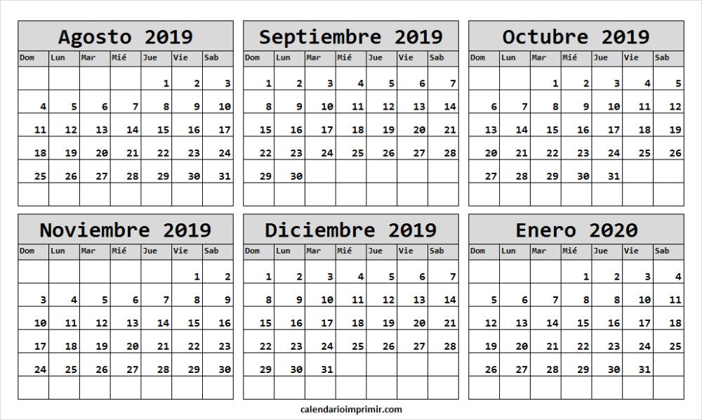Agosto 2020 Calendario.Calendario Agosto 2019 Enero 2020 En Ingles Plantilla