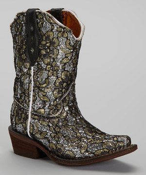 68aad62f82a Tanner Mark Boots Silver & Gold Glitter Floral Tapered Toe Cowboy ...