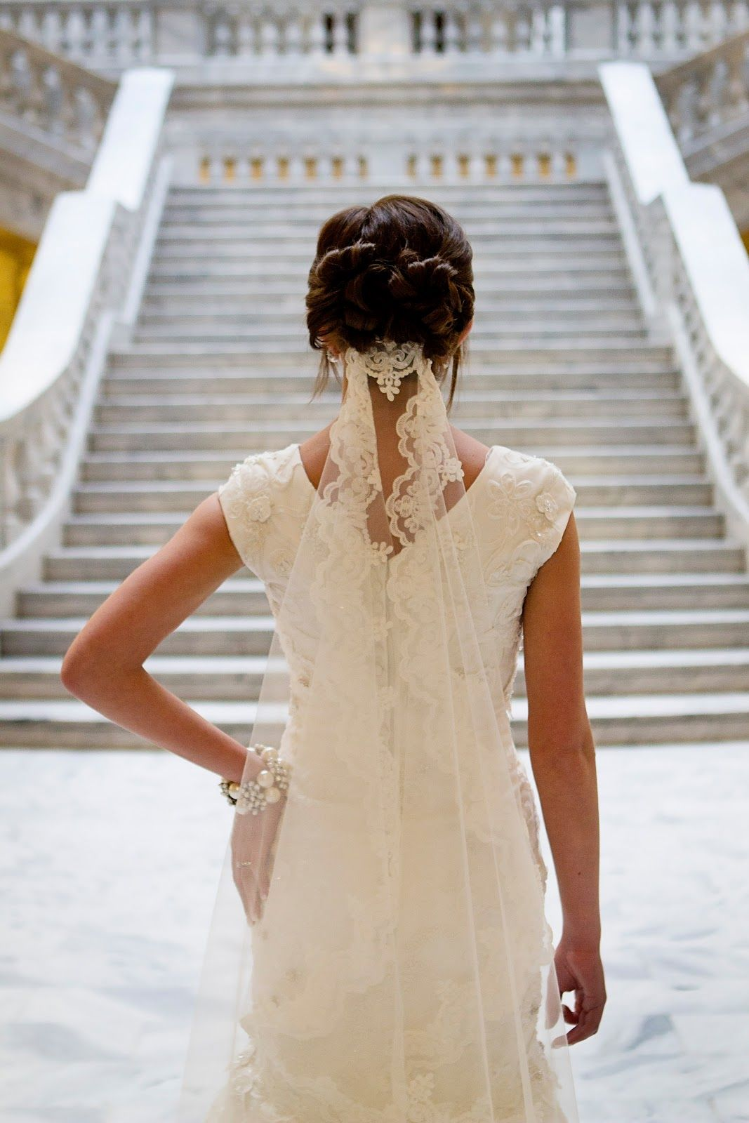 veil from a low updo.. if i did a veil, i would like it this way