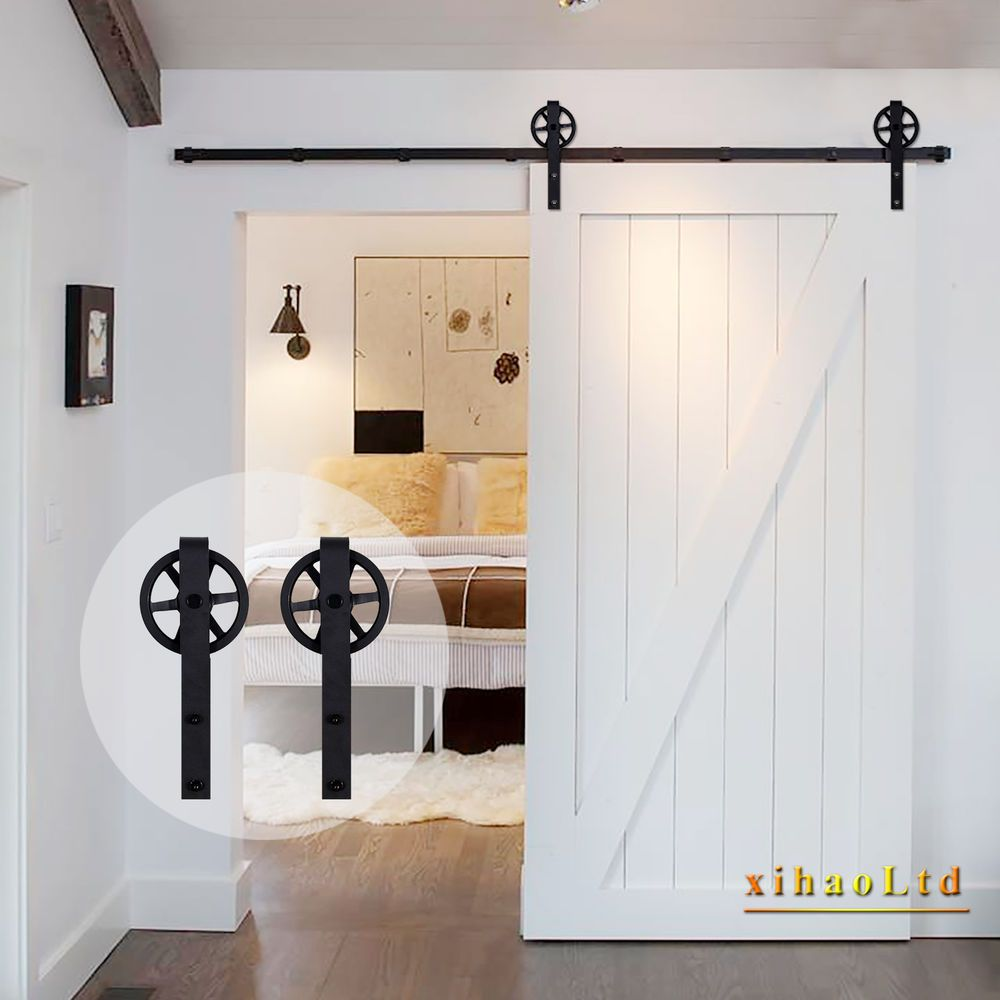 4 20ft Vintage Strap Industrial Spoke Wheel Sliding Barn Door Hardware Track Kit Sliding Barn Door Hardware Wood Barn Door Door Hardware