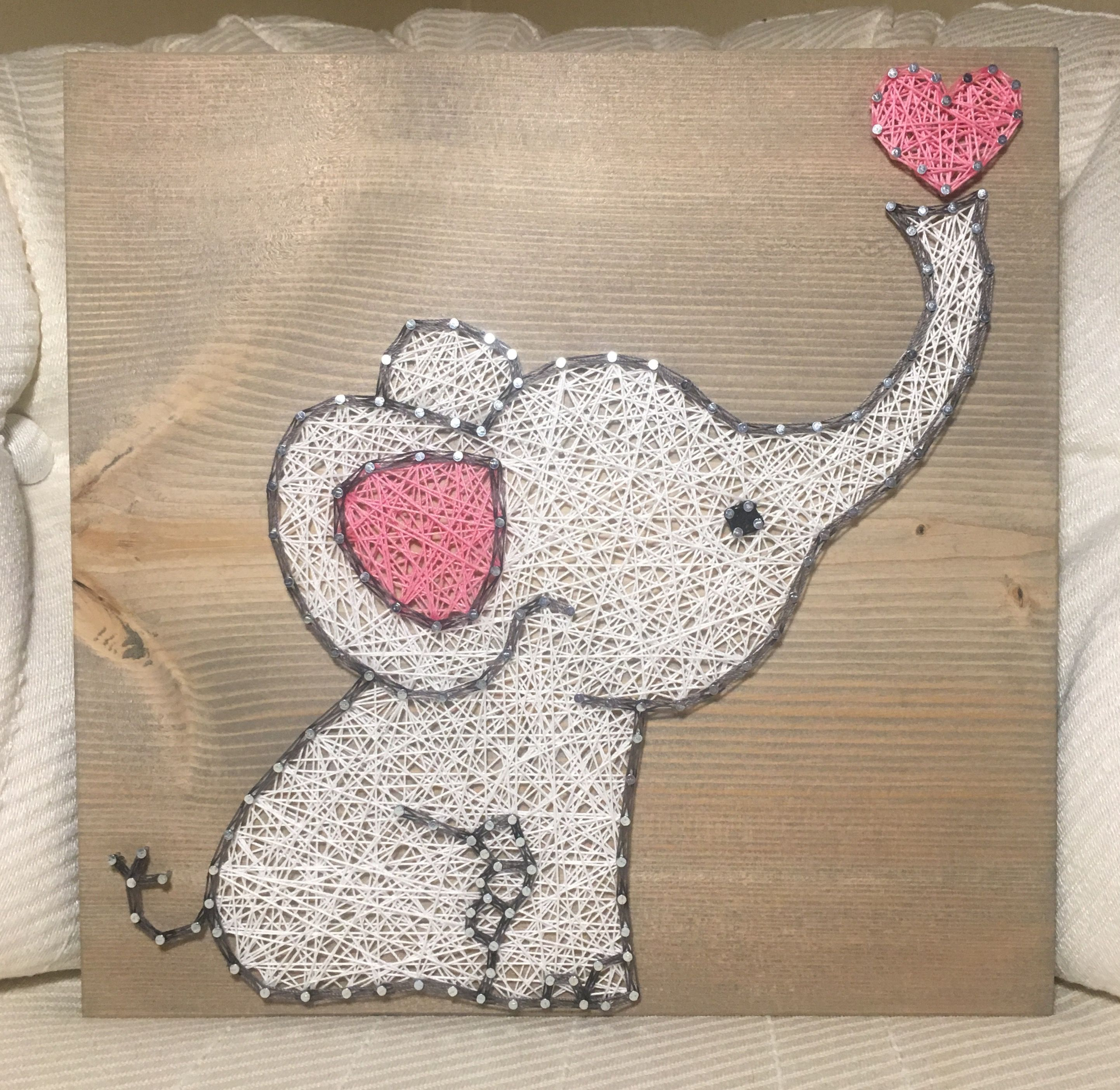 Baby Elephant String Art Sign, Nursery decor, Baby shower gift ...