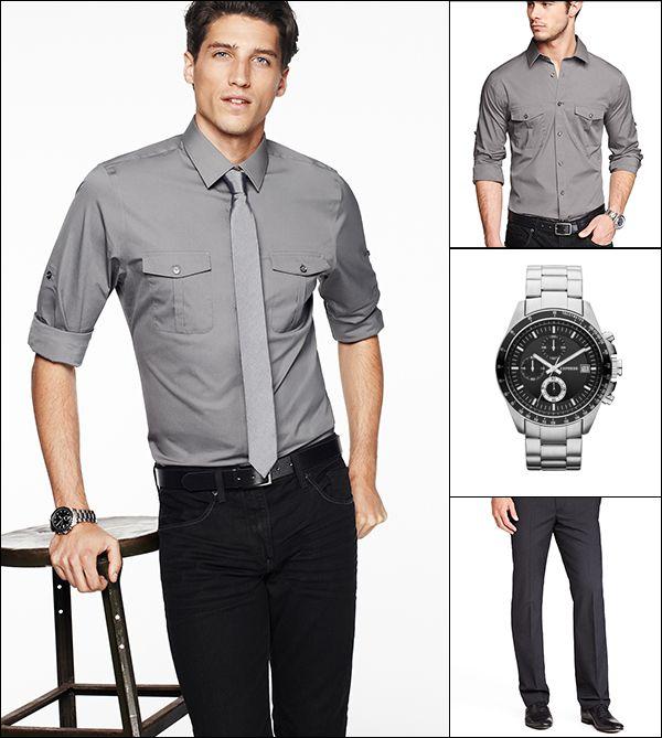 Gray Dress Shirt With Black Pants