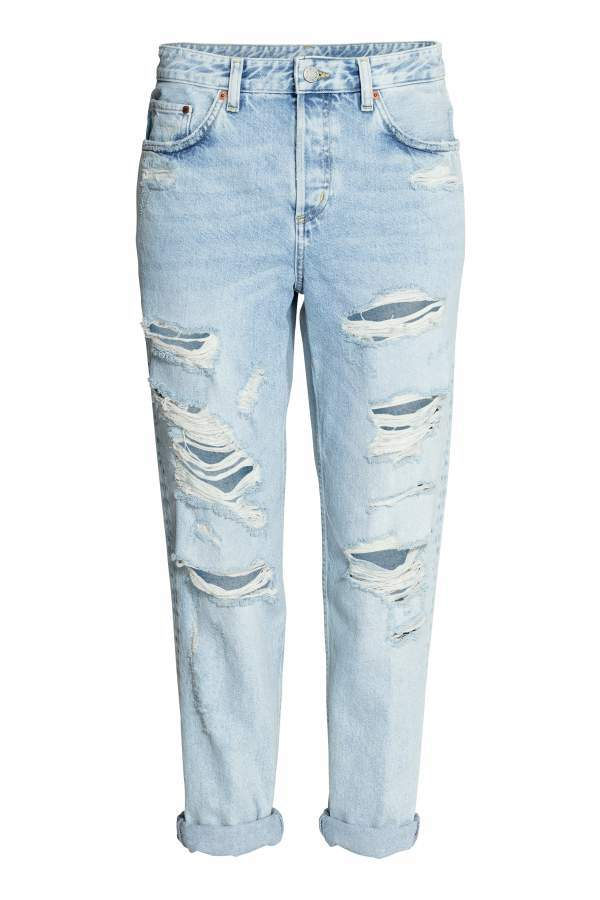 90623616a63c8b H&M Boyfriend Low Ripped Jeans - Light denim blue - Women5-pocket, low-rise  jeans in washed denim with heavily distressed details, button fly, and  slightly ...