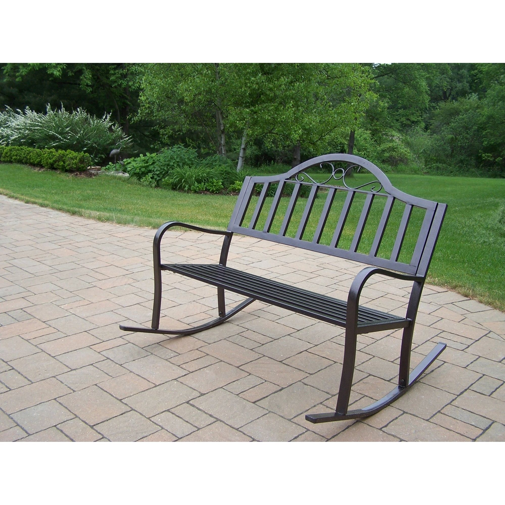 Hometown Extruded Iron Rocking Bench With Images Outdoor