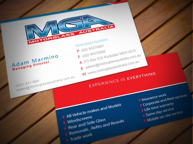 Business Cards Design For Motorglass Australia Need A Sleek And