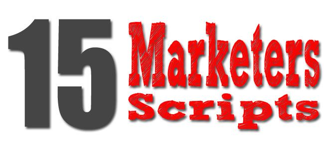 15 Internet Marketers scripts Hello Fellow Marketer, How would you like to access some of the INTERNETS HOTTEST NEW PRODUCTS that will explode your marketing base increase your knowledge and make you money. Interested? That's right, this group of top internet marketers have an absolutely gigantic package of free products that we want to...Read More